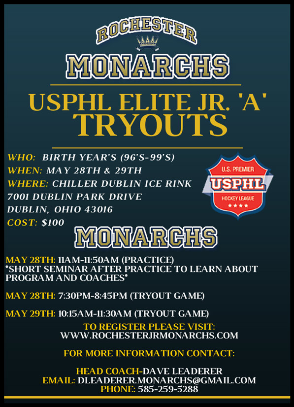 Rochester Monarchs USPHL Elite Jr. A Tryouts – May 28-29 - Dublin