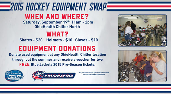 Donate used hockey equipment, receive CBJ pre-season ticket vouchers.