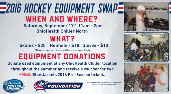 Donate used equipment and receive a voucher for 2 FREE CBJ pre-season tickets!